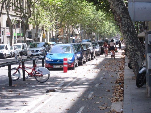 Carril bici de la Ronda Sant Pau ante una parada del Bicing de Barcelona