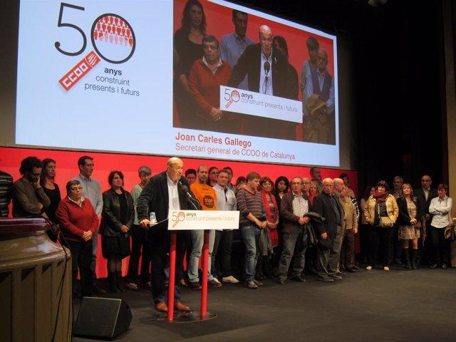 Joan Carles Gallego en el 50 aniversario de CC.OO. Catalunya