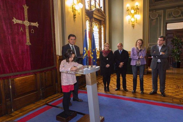 Eva Rodríguez, durante la lectura de su discurso.