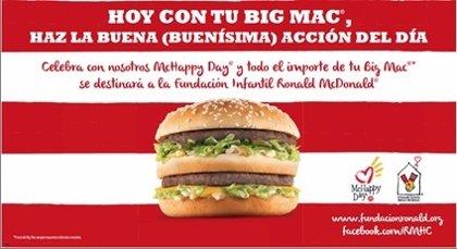 Restaurantes McDonald's de España donan la recaudación del Big Mac para ayudar a niños hospitalizados