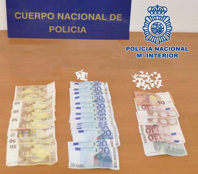Dinero y drogas incautados