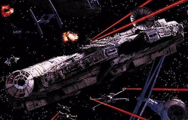 L Halcón Milenario y los cazas X-Wing Fighter