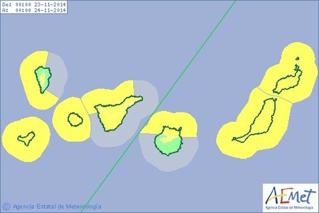 Aviso amarillo por vientos, lluvias y fenómenos costeros adversos