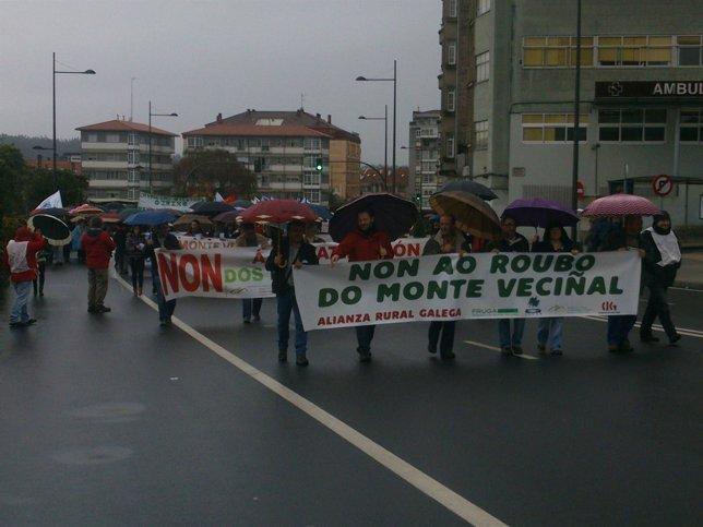 Manifestación contra la privatización de los montes vecinales