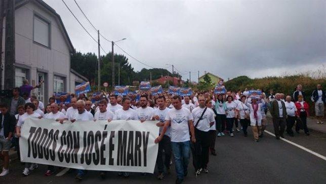 Manifestación en Carballo en apoyo del detenido en Colombia