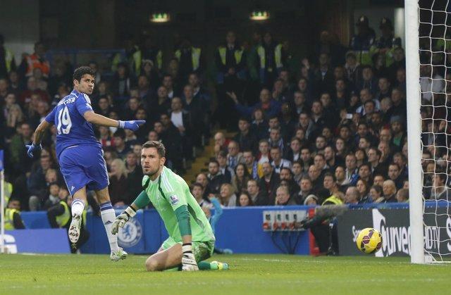 Diego Costa celebra un gol con el Chelsea en la Premier League