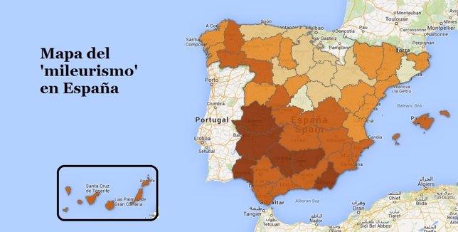 Número de 'mileuristas' en España