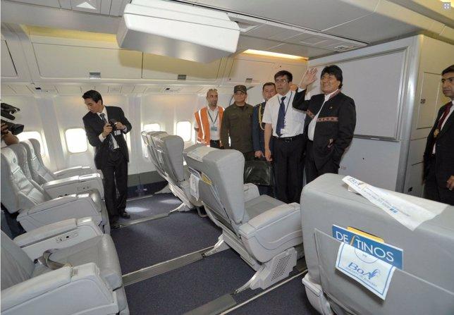 Evo Morales Inaugura el primer vuelo directo Bolivia-EEUU