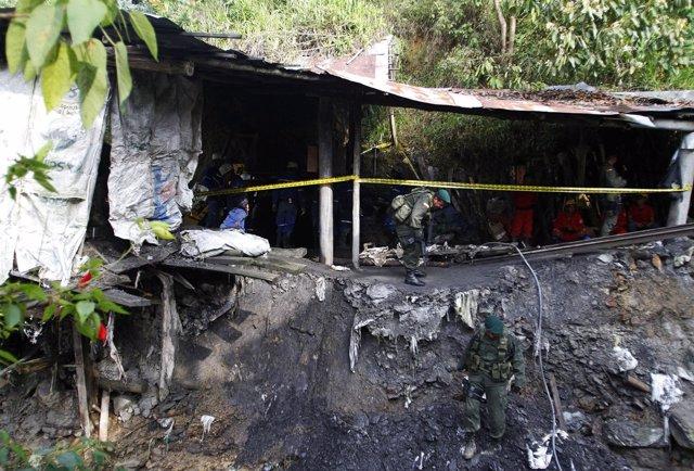 Mina derrumbada en Colombia