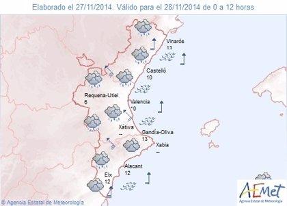 El fin de semana comienza en la Comunitat con lluvias que pueden acumular más de 60 mm en 12 horas en Castellón