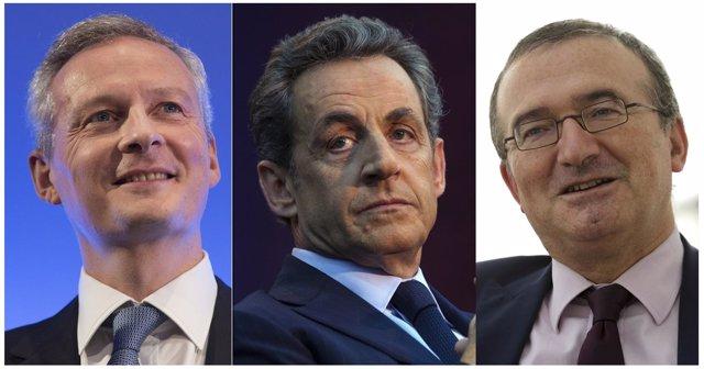 Bruno Le Maire, Nicolas Sarkozy y Hervé Mariton, candidatos a liderar la UMP