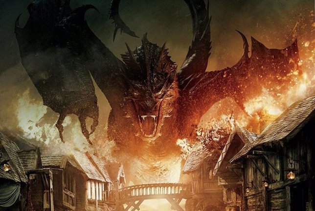 Cartel con Smaug y Bardo de El Hobbit: La batalla de los cinco ejércitos
