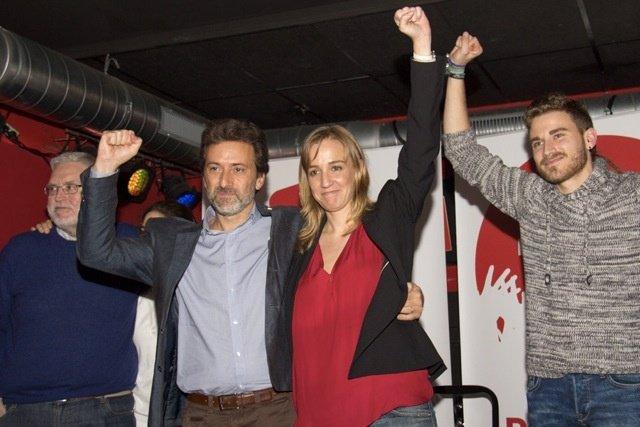Tania Sánchez y Mauricio Valiente, en el cierre de la campaña a las primarias