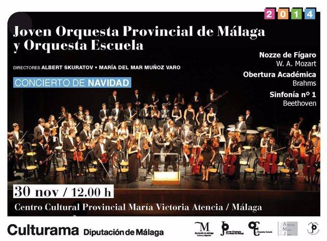 Cartel concierto de Navidad de la Joven Orquesta Provincial de Málaga