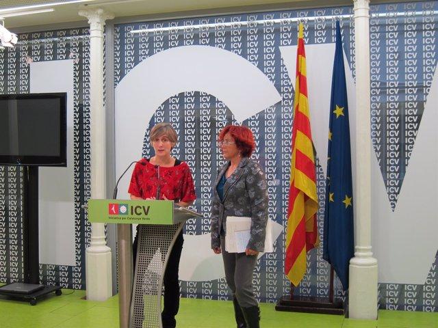 La coordinador de ICV, Dolors Camats, y la diputad por Tarragona, Hortènsia Grau