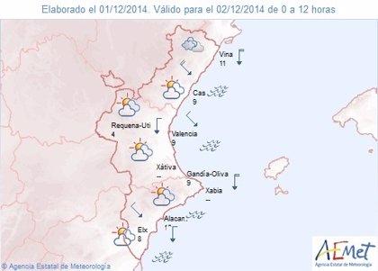 Las temperaturas bajan hasta 5 grados este martes en la Comunitat Valenciana