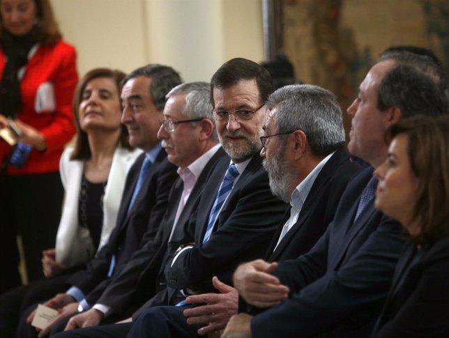 Rajoy, Báñez, Toxo, Méndez, Rosell en Moncloa