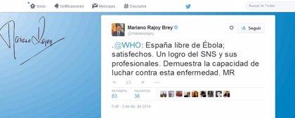 """Rajoy celebra que España esté libre de ébola y lo considera un """"logro del SNS y sus profesionales"""""""
