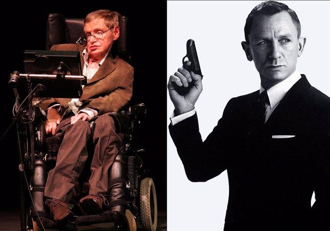 Stephen Hawking y Daniel Craig