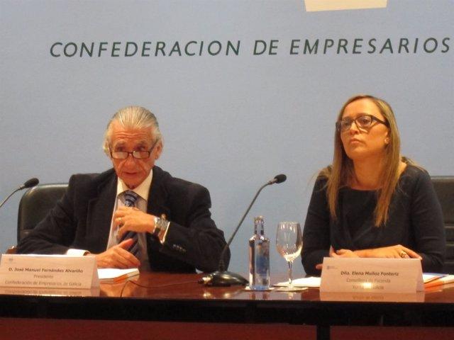 El presidente de la patronal gallega y la conselleira de Facenda