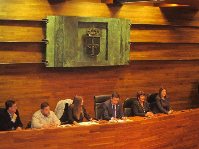 LOs representantes de CERMI con Pedro Sanjurjo en el salón de plenos