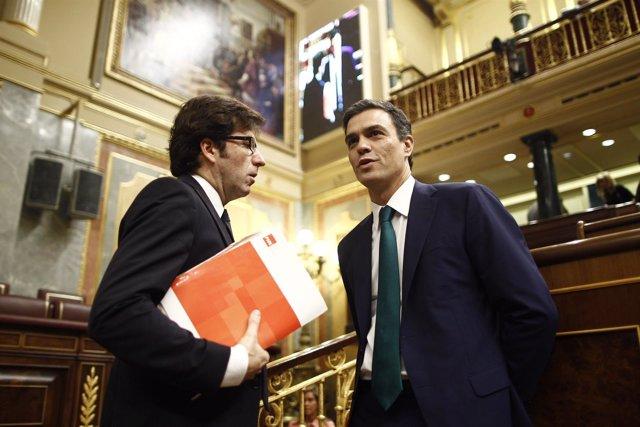 Juan Moscoso y Pedro Sánchez, del PSOE