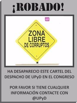 """Cartel de """"Zona libre de corruptos"""" cuyo robo denuncia UPyD"""