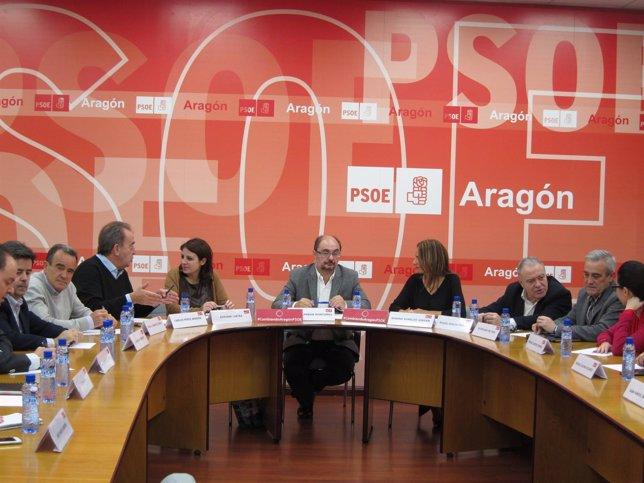 Lambán y Lastra en la reunión este miércoles en la sede del PSOE