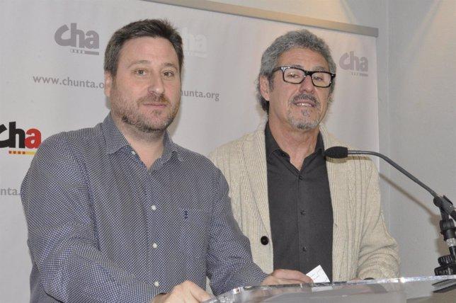 El presidente de CHA, José Luis Soro, y el diputado Gregorio Briz.