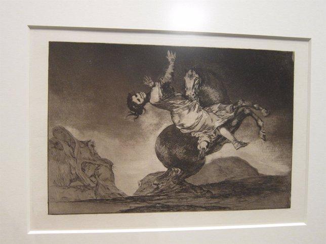 Uno de los grabados de Goya, 'El caballo raptor', de la serie 'Disparates'