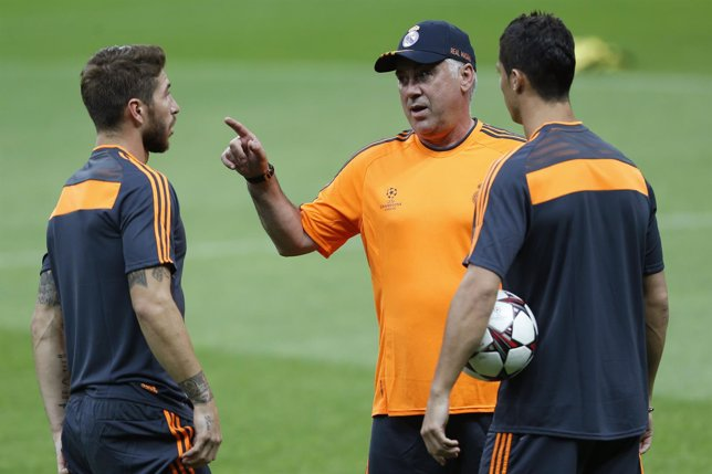 Sergio Ramos, Carlo Ancelotti y Cristiano Ronaldo, Real Madrid