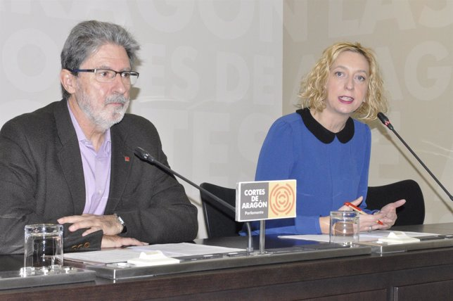 La portavoz de IU-Aragón, Patricia Luquin, y el portavoz, Adolfo Barrena.