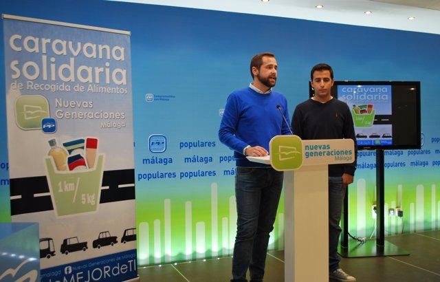 Luis verde y santaolalla en rueda de prensa caravana solidaria alimentos