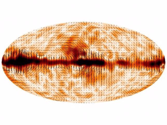 Polarización de la CMB a través del cielo