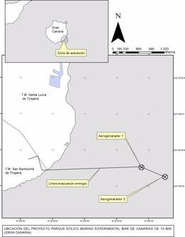 Mapa publicado en BOE con la ubicación del parque eólico marino Mar de Canarias