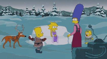 Los Simpson, que cumplen 25 años,  versionan Frozen en su intro de Navidad