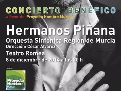 La OSRM y los hermanos Piñana ofrecen este lunes un concierto a beneficio de Proyecto Hombre