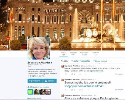 Seguidores de Esperanza Aguirre crean un perfil en Twitter para promover su candidatura a la Alcaldía de Madrid