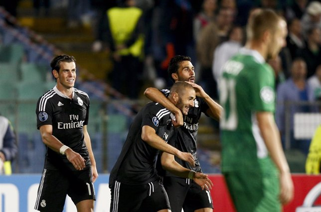 Benzema, Bale y Arbeloa tras ganar al Ludogorets