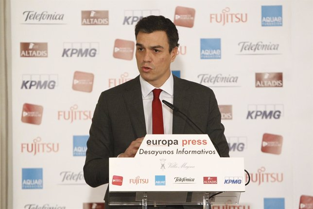Pedro Sánchez en los Desayunos de Europa Press