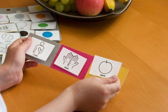 Autismo, pictogramas, enseñanza, aprender palabras con imágenes