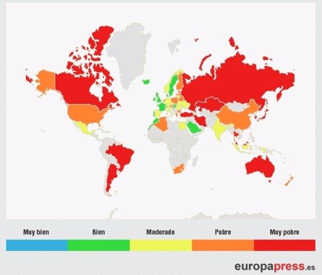 Ranking países lucha cambio climático mapa mundial