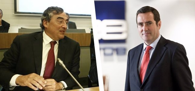 Juan Rosell, presidente de CEOE, y Antonio Garamendi, vicepresidente de Cepyme
