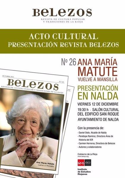 La directora de la revista Belezos presentará en Nalda el número dedicado a Ana María Matute