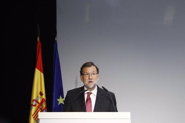 Mariano Rajoy en la sede de Telefónica