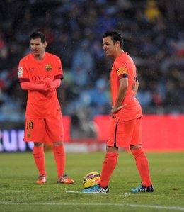 Xavi y Messi con el FC Barcelona