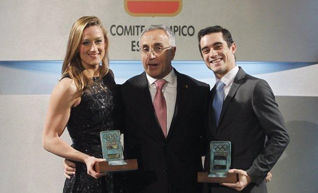Mireia Belmonte, Alejandro Blanco y Javier Fernández