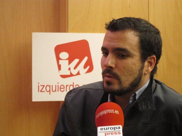 El diputado de IU Alberto Garzón durante una entrevista con Europa Press