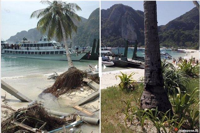 Antes y depués del tsunami