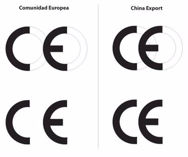 Diferencia entre las etiquetas de Comunidad Europea y China Export